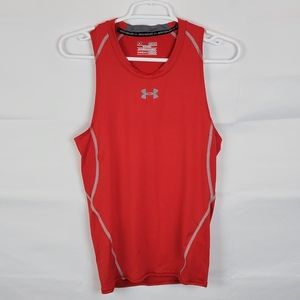 Under Armour Mens Activewear Tank Top Red Sleeveless Heatgear Compression M
